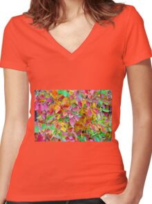 Background of vivid red and green autumn leaves Women's Fitted V-Neck T-Shirt
