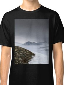 Dark mountain landscape. Snowy mountains in the deep fog. No Man's land Classic T-Shirt