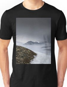 Dark mountain landscape. Snowy mountains in the deep fog. No Man's land Unisex T-Shirt