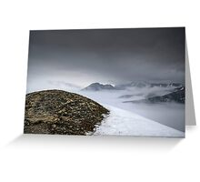 Dark mountain landscape. Snowy mountains in the deep fog. No Man's land Greeting Card