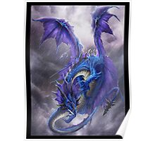 Blue Storm Dragon Poster