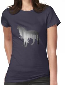 Illustration of wolf silhouette. Double exposure with black and white dark forest. Poster for nature lovers Womens Fitted T-Shirt