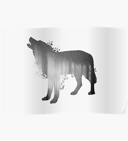 Illustration of wolf silhouette. Double exposure with black and white dark forest. Poster for nature lovers Poster