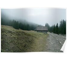 Old cottage in the mountains. Dirt road through the forest Poster
