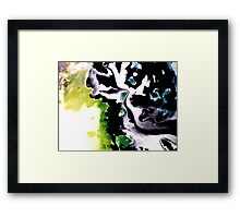Audacity abstract painting in Green Black and White Framed Print