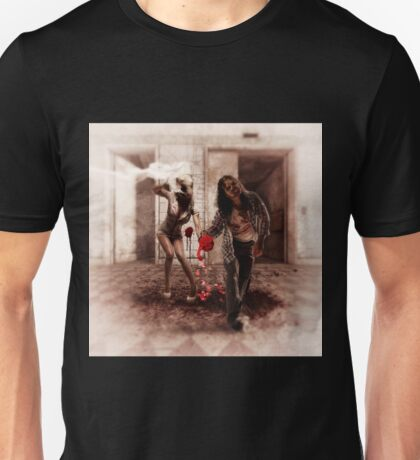 Happy Bride and Zombie Groom Unisex T-Shirt