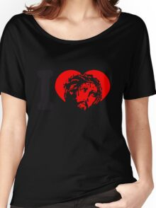 design cool heart i love liebe herz gestorben sünden jesus king of kings spruch text logo könig der könige heilig christus  Women's Relaxed Fit T-Shirt