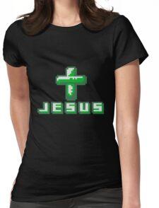 cool pixel gamer retro 8 bit muster kreuz christ logo design text schriftzug jesus christus  Womens Fitted T-Shirt