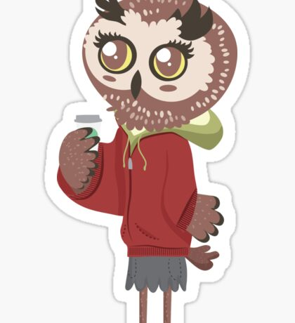 Cute Coffee Owl Sticker