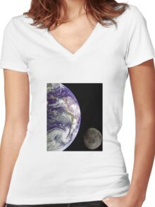Earth and Moon Women's Fitted V-Neck T-Shirt