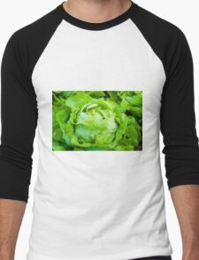Closeup on fresh wet lettuce in the garden Men's Baseball ¾ T-Shirt