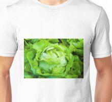 Closeup on fresh wet lettuce in the garden Unisex T-Shirt