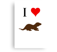 I Love Otters Canvas Print