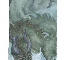 Murk Dragon - watercolours by drakhenliche