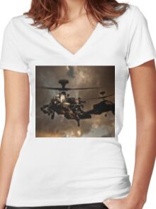 Apache Storm UK Army Helicopter Women's Fitted V-Neck T-Shirt