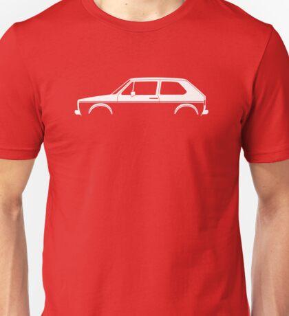 Car silhouette for VW Golf / Rabbit Mk1 GTi enthusiasts Unisex T-Shirt