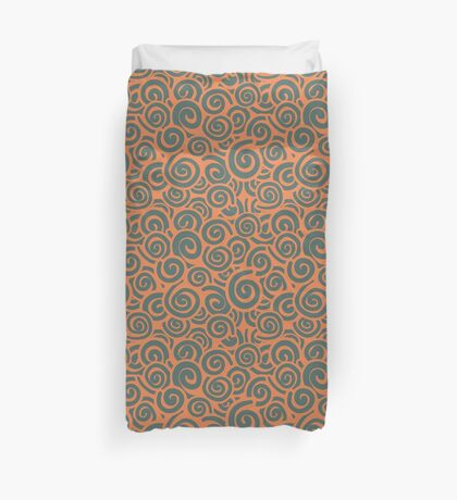 Conceptual Swirls in Orange and Green Duvet Cover