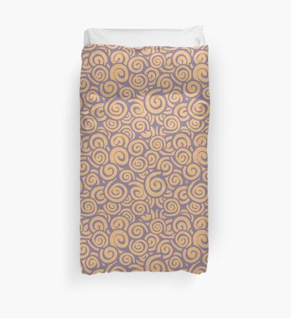 Conceptual Swirls in Peach and Lavender Duvet Cover