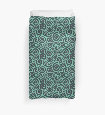 Conceptual Swirls in Seafoam Green and Navy Duvet Cover