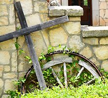 Cross And Stone Cropped by Audrey Woods