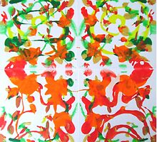 Autumns Whorl Leaf Abstract White green red orange by 7RayedDesigns