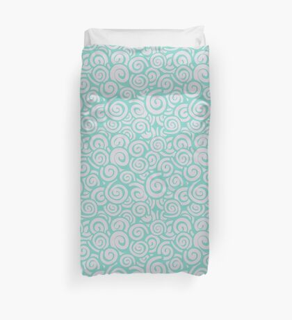 Conceptual Swirls in Pink and Seafoam Green Duvet Cover