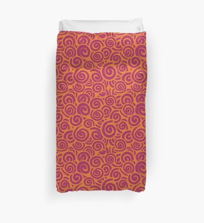 Conceptual Swirls in Orange and Pink Duvet Cover