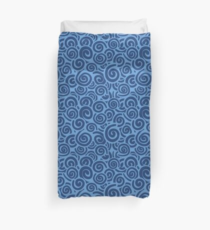 Conceptual Swirls in Light Blue and Navy Duvet Cover