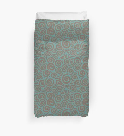 Conceptual Swirls in Brown and Blue Green Duvet Cover