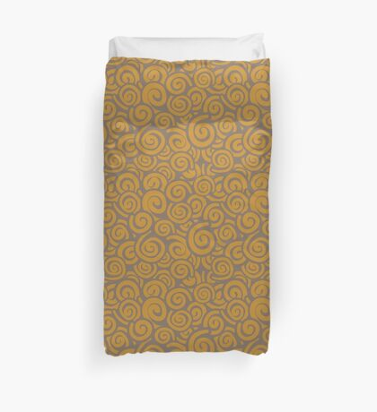 Conceptual Swirls in Brown and Tan Duvet Cover