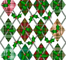 Christmas Holly and Tartan Argyle by PrivateVices