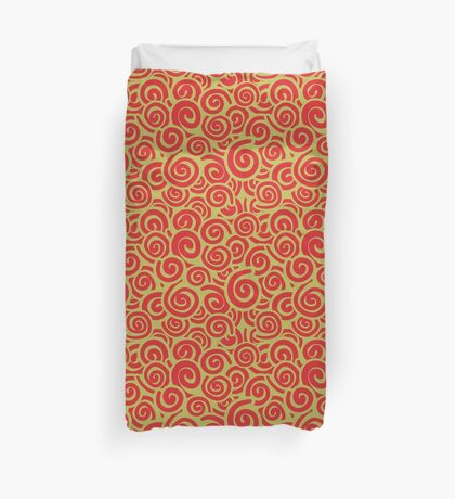 Conceptual Swirls in Lime and Red Duvet Cover