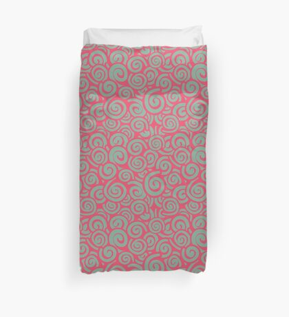 Conceptual Swirls in Pink and Light Blue Duvet Cover