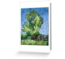 An old willow in a Russian village. Summer Greeting Card