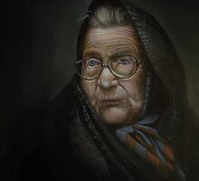Portrait of an old woman; Flemish style by Zoran Kudra