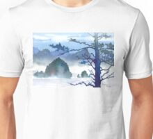 Misty Day at Haystack Rock - Watercolor Unisex T-Shirt