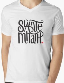 Slainte Mhath in black and red Mens V-Neck T-Shirt