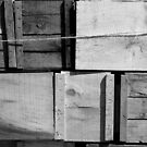 Crates at the Orchard BW by marybedy