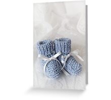 Baby Booties - Blue 1 Greeting Card