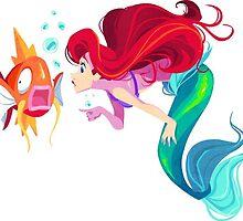 little mermaid and magicarp by nuriko12