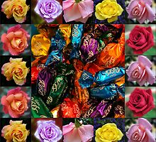 Roses Collage - Chocolates and Flowers  by SunriseRose