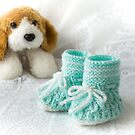 Baby Booties - Aqua by Ellesscee