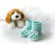 Baby Booties - Aqua Photographic Print
