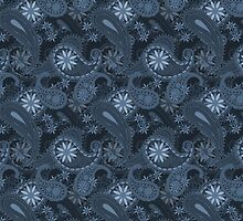 Vintage Bright Blue Paisley Floral Pattern by sale