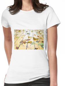 Closeup view on a wet green and yellow leaves Womens Fitted T-Shirt