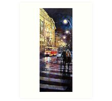 Prague Masarykovo Nabrezi Evening Walk Art Print