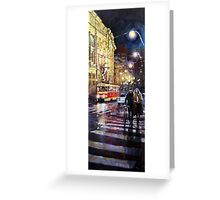 Prague Masarykovo Nabrezi Evening Walk Greeting Card