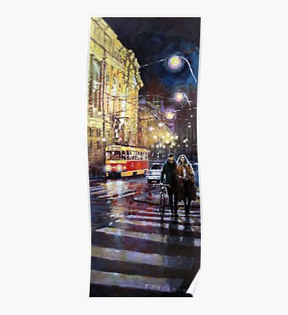 Prague Masarykovo Nabrezi Evening Walk Poster