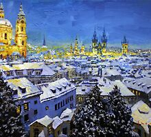 Prague After Snow Fall by Yuriy Shevchuk