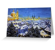 Prague After Snow Fall Greeting Card